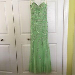 Green Beaded Dress - Size 0/2
